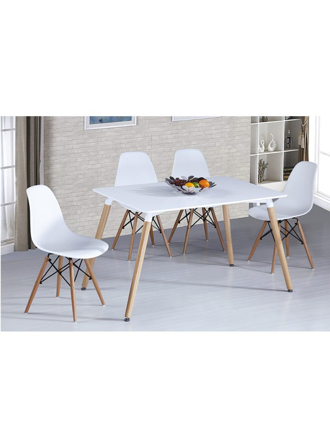 Set de comedor – Mesa Tokyo + 4 sillas réplica Eams