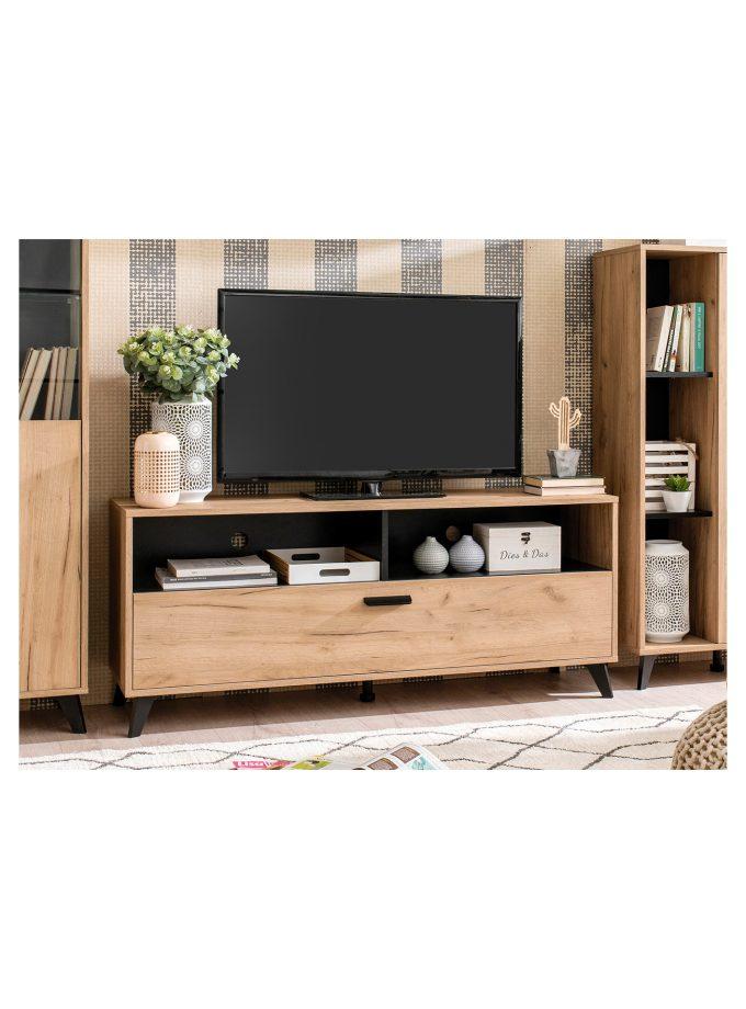 Set muebles Trevi: Mesa tv + Mesa centro + Repisa + Librero alto