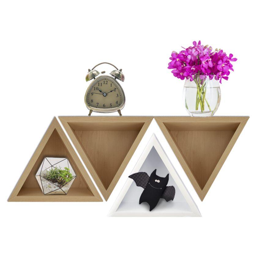 Repisa Flotante Triángular – Natural
