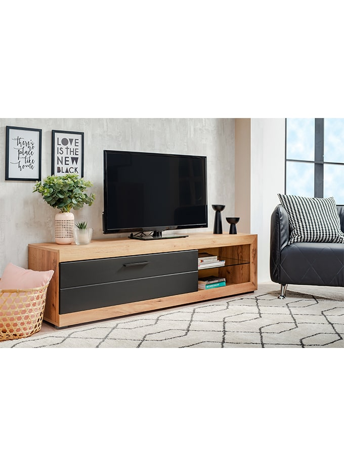 Mesa de Tv Kuca roble/negro